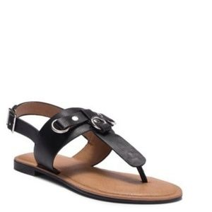 NWT Abound T-Strap Black Sandals with Metal Accent